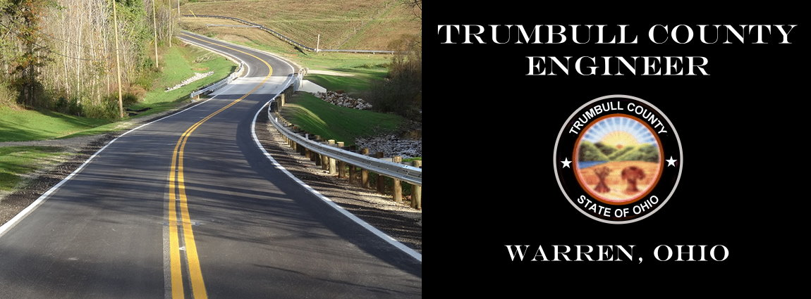 Header with image of highway introducing the Trumbull County Engineer website.